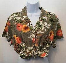 Vintage Hawaiian Green Floral Tied Shirt Casual Blouse Retro Grunge White Stag