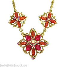 1928 Jewelry Aberdeen Coral & Pink Flower Statement Necklace
