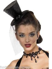 Mad Hatter Alice Black Glitter Burlesque Mini Top Hat & Veil Fancy Dress