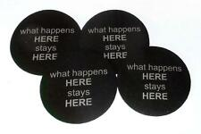 Bar Beer Coasters set of 4, what happens HERE stays HERE made of recycled tires