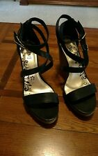 "BRASH Size 13 Black JADE Crossband PLATFORM 4 1/4"" Heel 1"" Platform Heel Shoes"