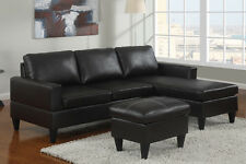 Black Faux Leather All In One Sectional W Ottoman 3 Pcs Living Room Furniture