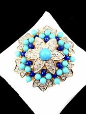 JOSEPH MAZER JOMAZ CRYSTAL RHINESTONE SAPPHIRE TURQUOISE CABOCHON FLORAL BROOCH