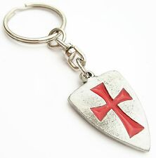Masonic Knights Templar Shield Handcrafted English Pewter Key Ring + Gift Bag