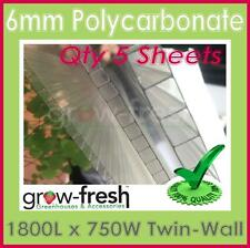 GREENHOUSE 6mm Polycarbonate panels roofing sheets twin wall DIY-1800x750mm QTY5