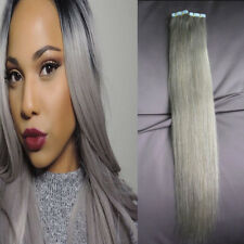 20pcs Indian Virgin Human Hair Tape In Straight Skin Weft Extensions Grey