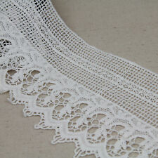 1 Yard Off-White Cotton Floral Embroidered Lace Trim For DIY Craft Wide 6""