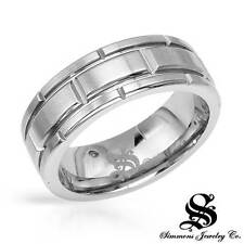 SIMMONS Attractive Gentlemens Band  Ring W/Genuine Diamond in Stainless steel