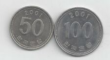 2 DIFFERENT COINS from SOUTH KOREA - 50 & 100 WON (BOTH 2001).