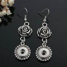 NEW 12MM silver color Drill Earrings Fit For Noosa Charm Snap Button N91