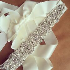 SaleBridal Beaded Wedding Belt Sash,Rhinestone Sash,Beaded Sash-Ivory Satin Sash
