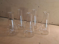 5 Vintage 100ml Conical Flasks, Lab - Chemistry Glass - Display Pieces - Pyrex