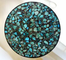 Vintage Mosaic Turquoise Trinket Box Blue Gemstones Inlay Round Brass