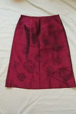 NEW WOMEN'S ANN TAYLOR 100% SILK A-LINE SKIRT SIZE 2 DARK RED & BLACK BEADED