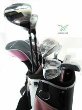 LADIES LEFT HAND ASPECT PINK ALL GRAPHITE COMPLETE GOLF SET:BAG+HYBDS+7-PW+SW+PT