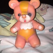 Vintage Squeaky Toy Pink Teddy Bear