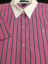 WOMENS LAUREN RALPH ALUREN PINK BLUE GREEN CASUAL DRESS SHIRT BLOUSE LARGE