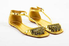 Sigerson Morrison NIB $440 Metallic Gold Leather T Strap Flat Sandals SZ 7