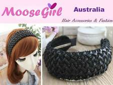 Black Faux Leather Lace Wide Headband Alice Band Woman Ladies Fashion Hair Band