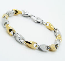 Unisex Gold Silver Tone Stainless Steel Bracelet