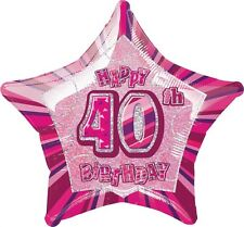 "20"" Happy 40th Birthday Party Pink Sparkle Star Foil Balloon"