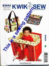 KWIK SEW SEWING PATTERN 3643 BABY SHOPPING TROLLEY COVER NAPPY BAG W/ CHANGE MAT