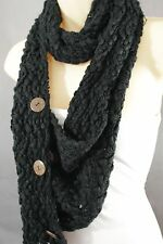Women Long Black Necklace Soft Scarf Fashion Winter Knit Soft Fabric 3 Buttons