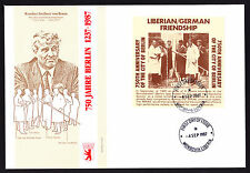 Liberia 1987 First Day Cover 750th Anniversary of Berlin cachet & sheet FDC FDI