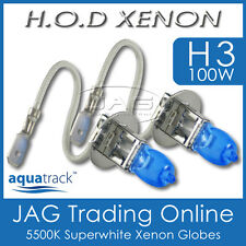 12V HOD XENON H3 100W 5500K SUPERWHITE HEADLIGHT CAR/AUTO/4x4 WHITE BULBS/GLOBES