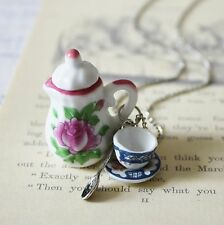 KiTsCh ViNtAgE aLiCe mAdHaTTeR FLORAL MISMATCHED CHINA TEA PARTY SILVER NECKLACE
