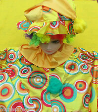 CLOWN COSTUME PLUS SIZE CLOWN WITH WIG, SHOES, SOCKS,HORN BIRTHDAY  OR HALLOWEEN