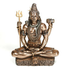 "LORD SHIVA STATUE 8.25"" Hindu Indian God Bronze Resin HIGH QUALITY Seated Figure"