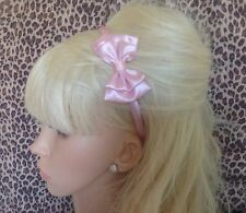 "NEW PALE BABY PINK SATIN SMALL 3"" DOUBLE SIDE BOW ALICE HAIR HEAD BAND CUTE GIRL"