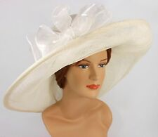 New Church Kentucky Derby Wedding Sinamay w Bow Wide Brim 637 Off White