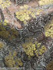"BROWN & Gold Paisley Floral Metallic Brocade Fabric 60""W Tablecloth Drape Dress"