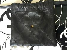 "Authentic CHANEL Vintage Quilted Drawstring Pouch Black Leather Gold ""CC"" Logo"