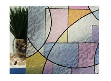 """Abstract Stained Glass Circles Static Cling Window Film, 36"""" Wide x 1 yd"""
