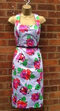 50'S VINTAGE STYLE DEBENHAMS LILAC FLORAL BELTED PENCIL WIGGLE DRESS SIZE 12