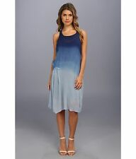 DKNY JEANS Indigo Blue Ombré Wash Illusion Sheer Boho Midi Racerback Dress Sz XS
