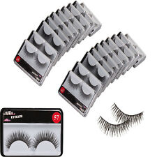 New 20 Pairs fiber 0.43 inch Cross False Eye Lash Fake Eyelashes with Glue Black