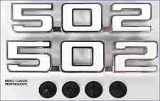 """1969 Camaro 1969 - 1974 Nova """" 502 """" Front Fender Emblem Pair New Reproduction"""