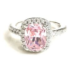 3 Ct Cushion Pink Sapphire Diamond Halo 925 Sterling Silver Ring Solid R628