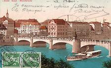 Carte  SUISSE BASEL BALE Rheinbrücke Pont sur le Rhin Cachet ambulant
