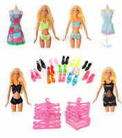 21 Pieces of Barbie Doll Dresses Clothes Underwear Bikini's Shoes Bundle Lot 1