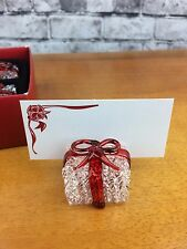 Pier 1 Imports Christmas Present Place Card Holder Set Of 5 Blown Glass Gift Box