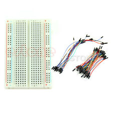 Universal Mini Solderless Breadboard 400 Tie-points +New 65PCS Jumper cable wire