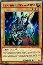 YuGiOh OP02-EN005 FIENDISH RHINO WARRIOR Super Rare Tournament Pack 2 NEW MINT