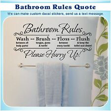 Bathroom Rules English Quote Saying Vinyl Wall Home Decor Art Sticker Decal 052B
