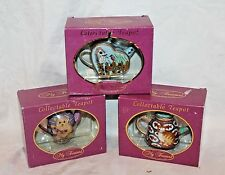"LOT OF 3 ""MY TREASURE""  COLLECTIBLE TEAPOT-GENUINE PORCELAIN, miniature ,"