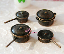 1:12 Dollhouse Miniature Vintage Metal Frying Pan Pot 4PCS For Cook